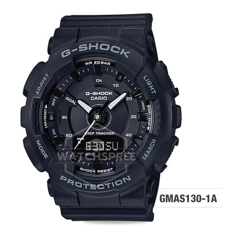 Casio G-Shock S Series For Women Step Tracker Black Resin Band Watch GMAS130-1A GMA-S130-1A