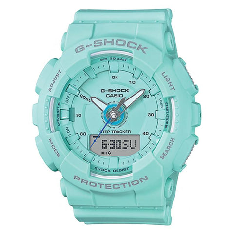 Casio G-Shock S Series For Women Step Tracker Blue Green Resin Band Watch GMAS130-2A GMA-S130-2A
