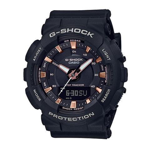 Casio G-Shock S Series For Women Step Tracker Black Resin Band Watch GMAS130PA-1A GMA-S130PA-1A