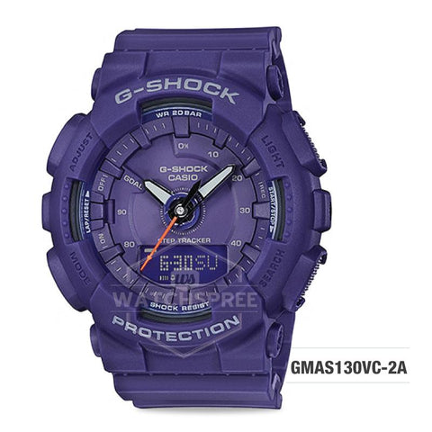 Casio G-Shock S Series Step Tracker Purple Resin Band Watch GMAS130VC-2A GMA-S130VC-2A