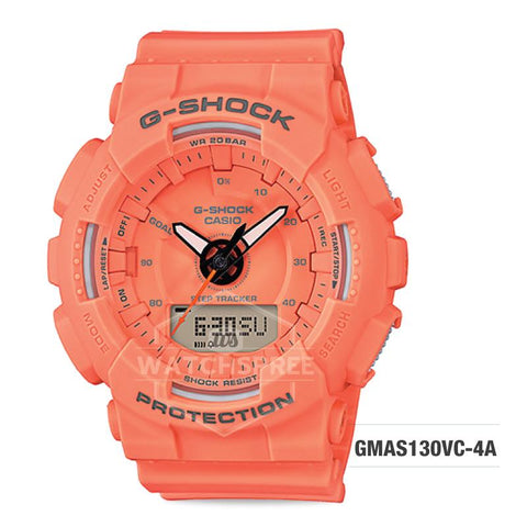Casio G-Shock S Series Step Tracker Orange Resin Band Watch GMAS130VC-4A GMA-S130VC-4A