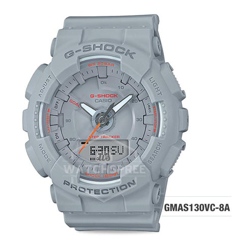 Casio G-Shock S Series Step Tracker Grey Resin Band Watch GMAS130VC-8A GMA-S130VC-8A
