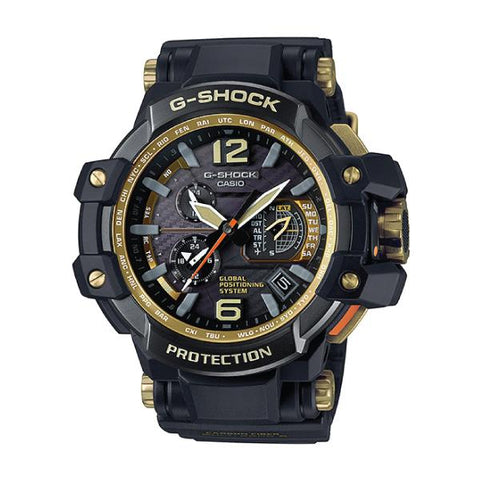 Casio G-Shock Master of G Black and Gold Gravitymaster Black Carbon fiber insert Resin Band Strap Watch GPW1000GB-1A