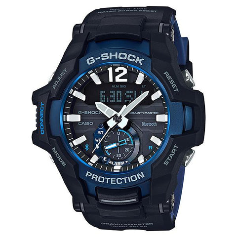 Casio G-Shock Gravitymaster with Bluetooth and Tough Solar Models Black Resin Band Watch GRB100-1A2 GR-B100-1A2