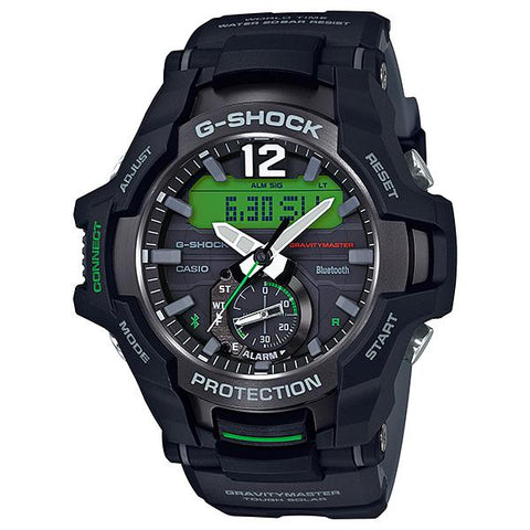 Casio G-Shock Gravitymaster with Bluetooth and Tough Solar Models Black Resin Band Watch GRB100-1A3 GR-B100-1A3