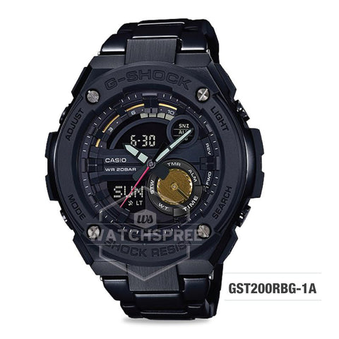 Casio G-Shock x Robert Geller Limited Models G-STEEL GST-200 Black IP Stainless Steel Band Watch GST200RBG-1A