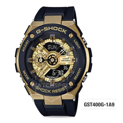 Casio G-Shock G-Steel Black Resin Band Watch GST400G-1A9 GST-400G-1A9
