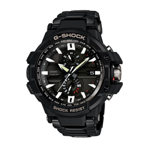 Casio G-Shock Aviation Smart Access  Black IP Stainless Steel Band Watch GWA1000D-1A