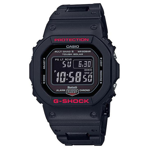 Casio G-Shock Bluetooth® Multi Band 6 Tough Solar Black Stainless Steel / Resin Composite Band Band Watch GWB5600HR-1D GW-B5600HR-1D GW-B5600HR-1