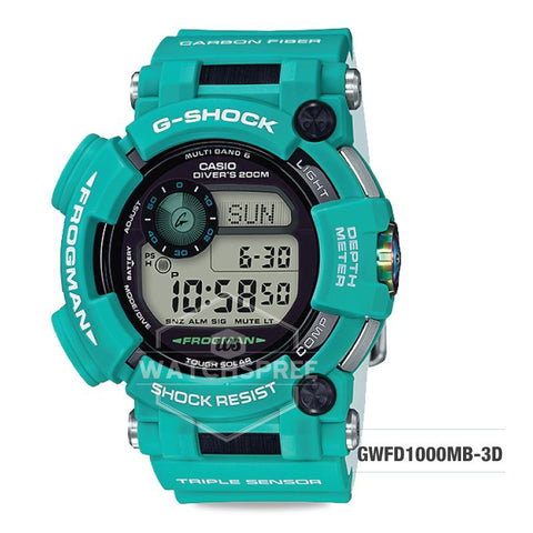 Casio G-Shock Master of G Series Marine Blue model Green Resin Strap Watch GWFD1000MB-3D