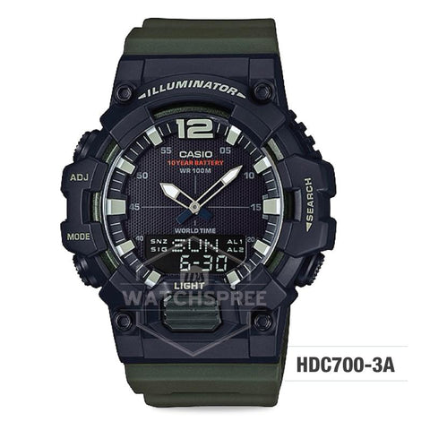 Casio Men's Analog-Digital Combination Dark Green Resin Band Watch HDC700-3A HDC-700-3A