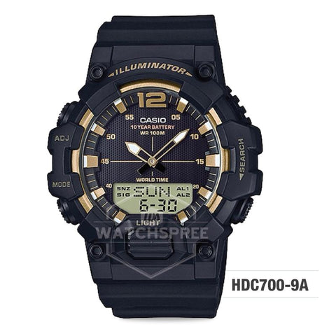 Casio Men's Analog-Digital Combination Black Resin Band Watch HDC700-9A HDC-700-9A