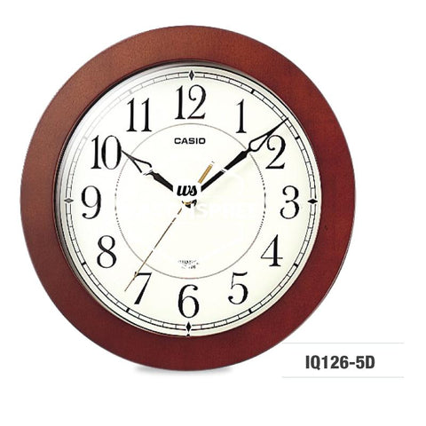 Casio Round Wood Frame Wall Clock IQ126-5D
