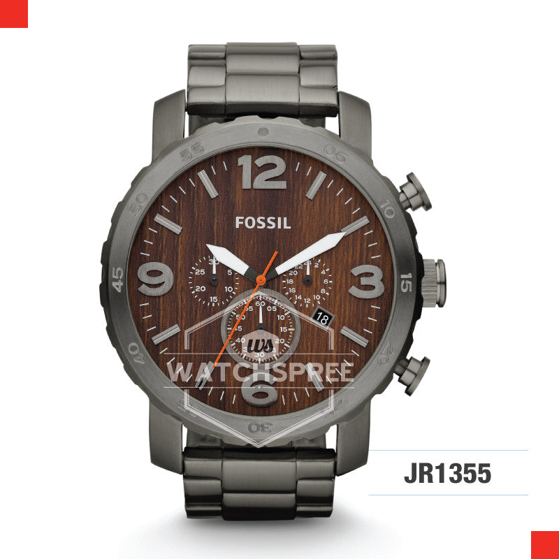 Fossil Men Nate Chronograph Smoke Stainless Steel Watch JR1355