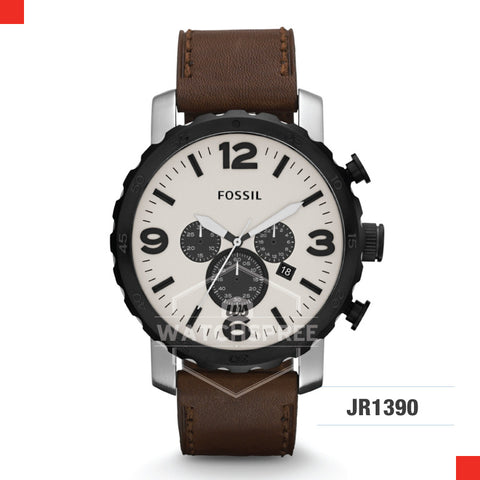 Fossil Men Nate Chronograph Brown Leather Strap Watch JR1390