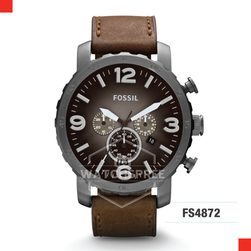 Fossil Men Nate Chronograph Brown Leather Watch JR1424
