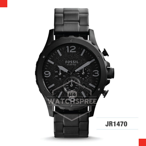 Fossil Men Nate Chronograph Black Stainless Steel Strap Watch JR1470
