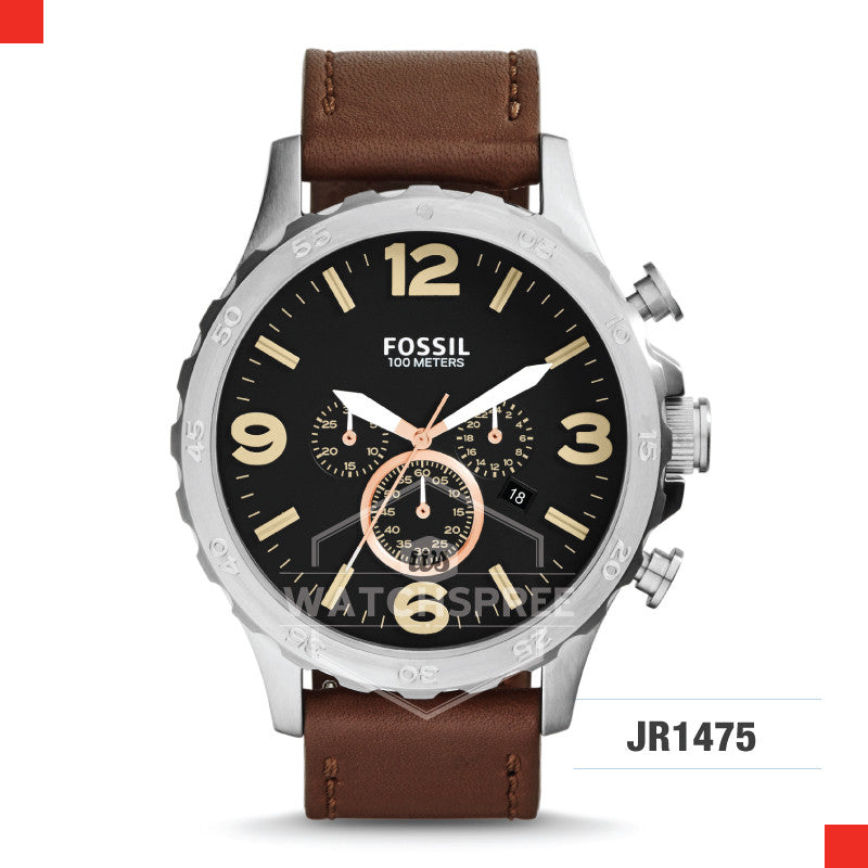 Fossil Men Nate Chronograph Leather Watch JR1475