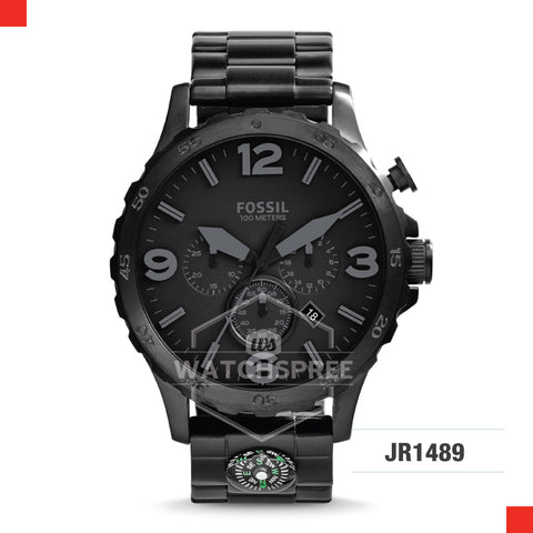 Fossil Men Nate Chronograph Black Stainless Steel Strap Watch JR1489