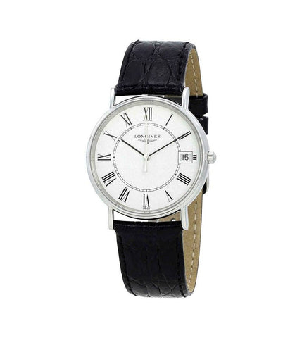 Longines Presence White Dial Black Leather 33 mm Men's Watch L4.819.4.11.2