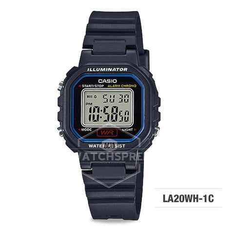 Casio Ladies' Standard Digital Black Resin Band Watch LA20WH-1C LA-20WH-1C