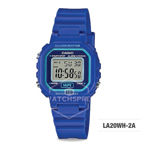 Casio Ladies' Standard Digital Blue Resin Band Watch LA20WH-2A LA-20WH-2A