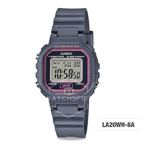 Casio Ladies' Standard Digital Grey Resin Band Watch LA20WH-8A LA-20WH-8A