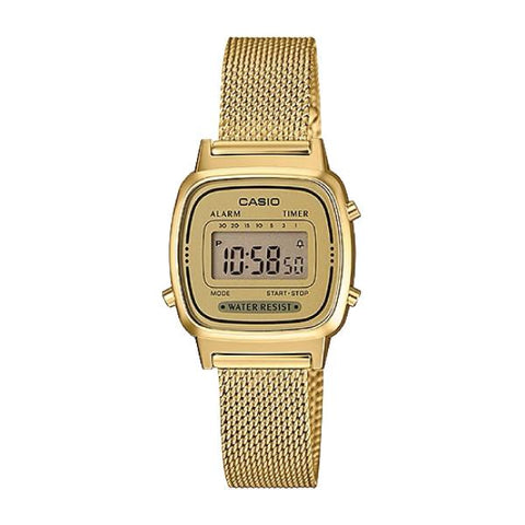 Casio Ladies' Vintage Standard Digital Gold Tone Mesh Band Watch LA670WEMY-9D LA-670WEMY-9D