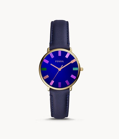 Fossil Ladies' Limited Edition The Colorist Watch Three-Hand Navy Leather Watch LE1078