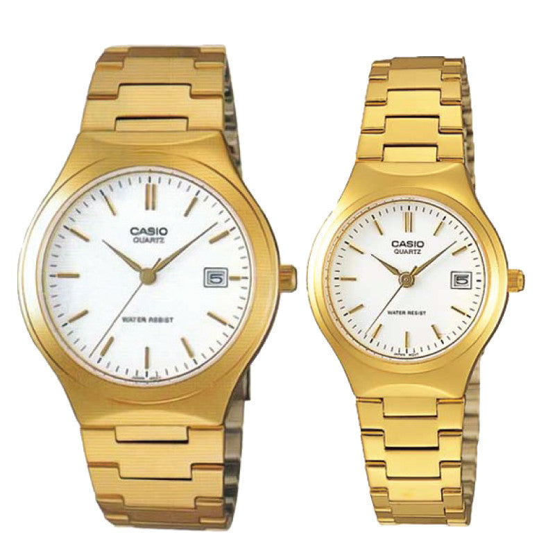 e3730852a6e4 Casio His   Her Black Dial Stainless Steel Band Couple Watch MTP LTP-1308D- 1B
