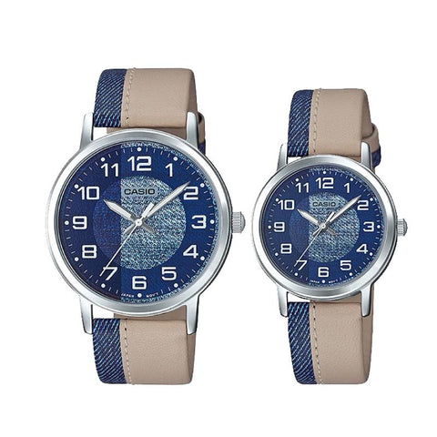 Casio Couple Leather Watch LTPE159L-2B2 MTPE159L-2B2