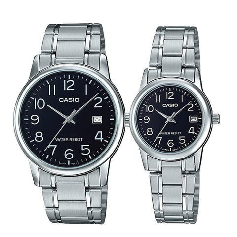 Casio Couple Stainless Steel Watch LTPV002D-1B MTPV002D-1B