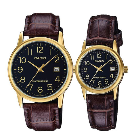 Casio Couple Leather Watch LTPV002GL-1B MTPV002GL-1B