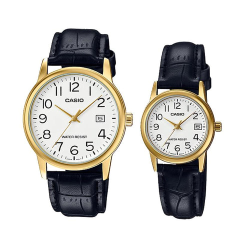 Casio Couple Leather Watch LTPV002GL-7B2 MTPV002GL-7B2