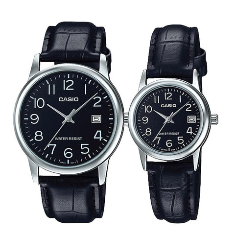 Casio Couple Leather Watch 	LTPV002L-1B 	MTPV002L-1B