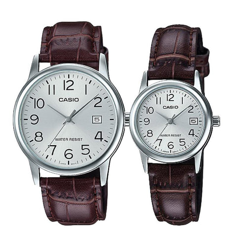 Casio Couple Leather Watch 	LTPV002L-7B2 MTPV002L-7B2