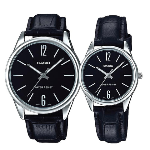 Casio Couple Leather Watch LTPV005L-1B MTPV005L-1B