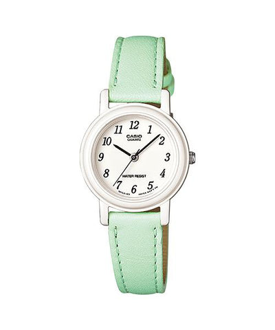 Casio Ladies' Standard Analog Green Leather Strap Watch LQ139L-3B LQ-139L-3B