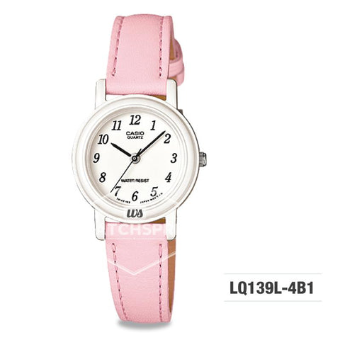 Casio Ladies' Standard Analog Pink Leather Strap Watch LQ139L-4B1 LQ-139L-4B1