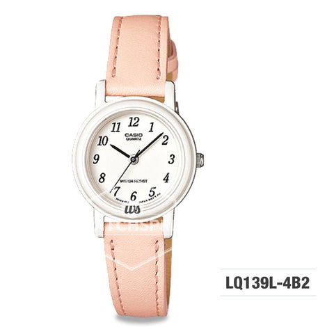 Casio Ladies' Standard Analog Orange Leather Strap Watch LQ139L-4B2 LQ-139L-4B2