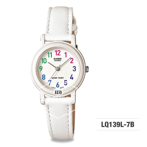 Casio Ladies' Standard Analog White Leather Strap Watch LQ139L-7B LQ-139L-7B