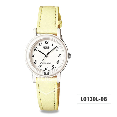Casio Ladies' Standard Analog Yellow Leather Strap Watch LQ139L-9B LQ-139L-9B