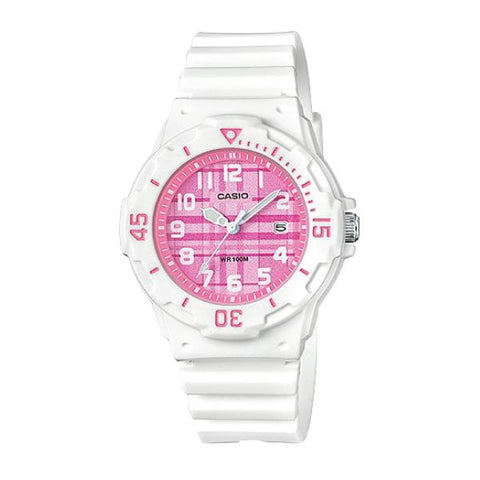 Casio Ladies' Diver Look Standard Analog White Resin Band Watch LRW200H-4C LRW-200H-4C