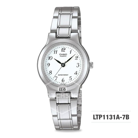 Casio Ladies' Standard Analog Silver Stainless Steel Band Watch LTP1131A-7B LTP-1131A-7B