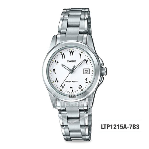 Casio Ladies' Standard Analog Silver Stainless Steel Band Watch LTP1215A-7B3 LTP-1215A-7B3