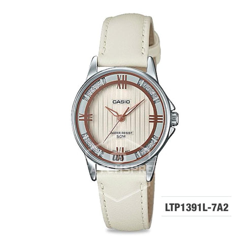 Casio Ladies' Standard Analog Off White Leather Strap Watch LTP1391L-7A2 LTP-1391L-7A2