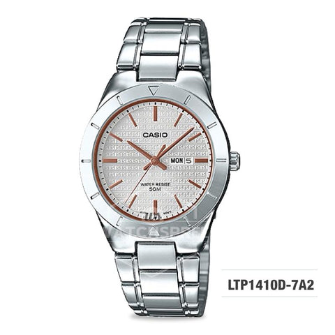 Casio Ladies' Standard Analog Silver Stainless Steel Band Watch LTP1410D-7A2 LTP-1410D-7A2