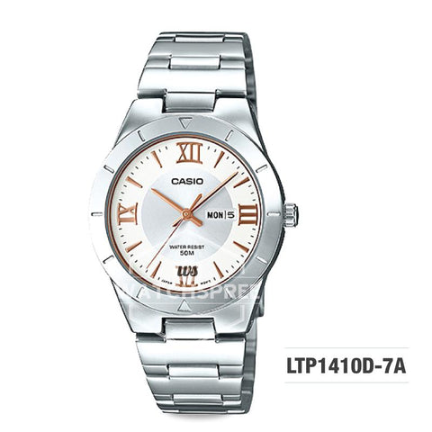 Casio Ladies' Standard Analog Silver Stainless Steel Band Watch LTP1410D-7A LTP-1410D-7A