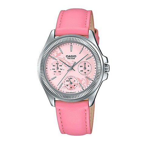 Casio Ladies' Multi-Hands Pink Leather Band Watch LTP2088L-4A2 LTP-2088L-4A2