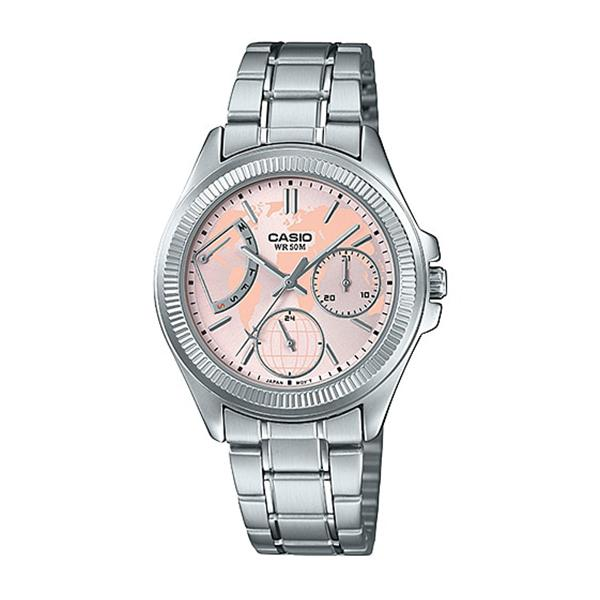 Casio Ladies' Multi-Hands Silver Stainless Steel Band Watch LTP2089D-4A LTP-2089D-4A